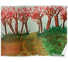 More thicker trees on the hill in abstact/casual, watercolor Poster