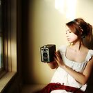 Learning to See (Self Portrait with Vintage Kodak Brownie) by EchoNorth