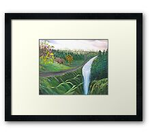 Country Back Road and River Waterfalls Framed Print
