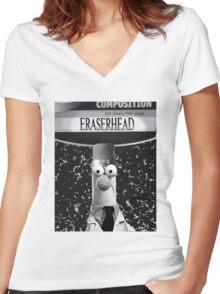 EraserBeakerHead Women's Fitted V-Neck T-Shirt