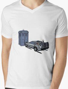 Dr Who Vs Back To the Future Mens V-Neck T-Shirt