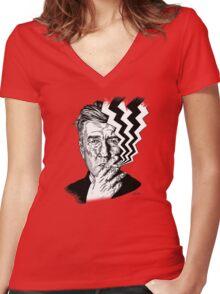 David Lynch smoking Women's Fitted V-Neck T-Shirt