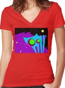 Deep Cat Tranquillity Women's Fitted V-Neck T-Shirt