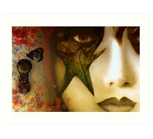 Secrets of My Soul You Will Never Understand...angry red, passion blue, but mostly shades of green Art Print