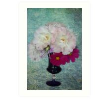 Roses & Cosmos From My Garden Art Print