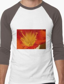 Orange Clivia Lily - Macro Men's Baseball ¾ T-Shirt