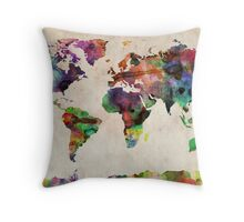 World Map Urban Watercolor Throw Pillow