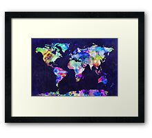 World Map Urban Watercolor Framed Print