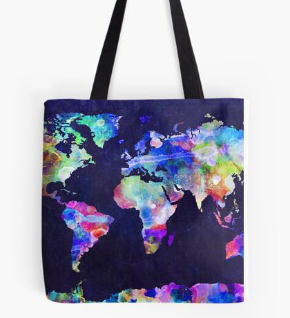 World Map Urban Watercolor Tote Bag
