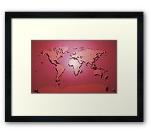 World Map in Red Framed Print