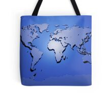 World Map in Blue Tote Bag