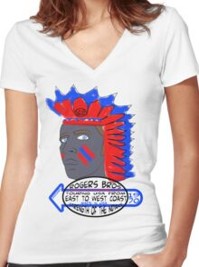 usa indians tshirt by rogers bros co Women's Fitted V-Neck T-Shirt