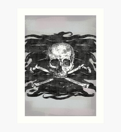 Old Crossbones Skull Pirate Flag Art Print