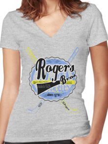 usa hockey tshirt by rogers bros co Women's Fitted V-Neck T-Shirt