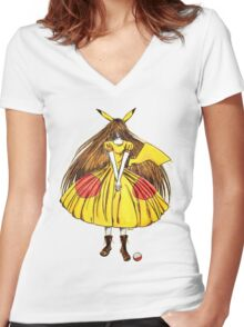 Lady Pikachu Women's Fitted V-Neck T-Shirt
