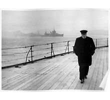 Winston Churchill At Sea Poster