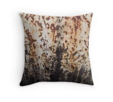 Rusted Metal White and Black Throw Pillow