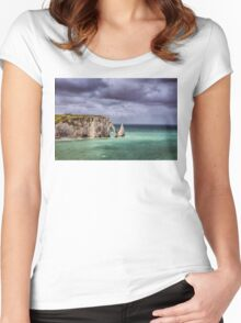 France. Normandy. Cliffs of Etretat. Women's Fitted Scoop T-Shirt