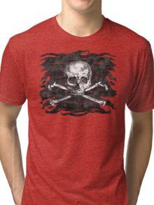 Old Crossbones Skull Pirate Flag Tri-blend T-Shirt