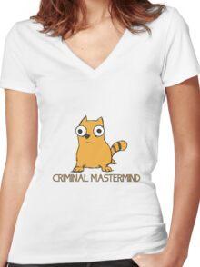 CRIMINAL MASTERMIND Cat Women's Fitted V-Neck T-Shirt
