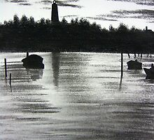 Ocracoke Lighthouse at Sunset by Debbie  Adams