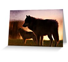 SUNSET WOLVES Greeting Card