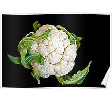 Cauliflower isolated on black  Poster