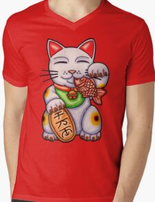 Lucky Cat Mens V-Neck T-Shirt
