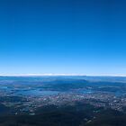 Panoramic of Hobart from Mt Wellington by David  Kembrey