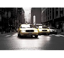 Two Yellow Taxis Photographic Print
