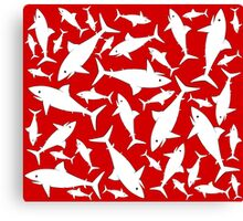 Shark Pattern Red Canvas Print