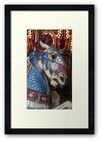 Unicorn warrior carousel horse by iheartrhody