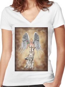 My Angel Women's Fitted V-Neck T-Shirt