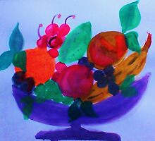 Fruit Bowl, watercolor by Anna  Lewis, blind artist