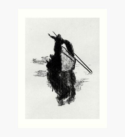 Fisherman with net. Art Print