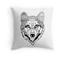 Sonya Tribal Wolf  Throw Pillow