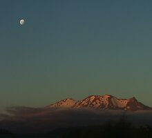 Sun set and moon rise over Mt Ruapehu 1 by orkology