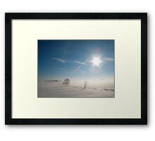 Sun, Snow, Fog & Contrail  Framed Print