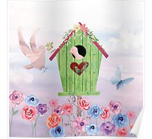 Building Their Nest cute birdies nature painterly art Poster
