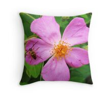 small bug on pink fower Throw Pillow