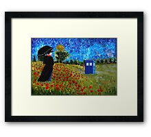 Umbrella girl with space and time traveller box art painting Framed Print