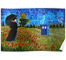 Umbrella girl with space and time traveller box art painting Poster