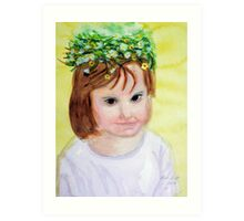 Summer princess with flower crown Art Print