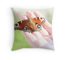 Rescued Peacock Butterfly Throw Pillow