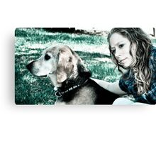 Dog and master Canvas Print