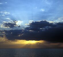Sunset over Issyk-Kul lake by Michal Cerny