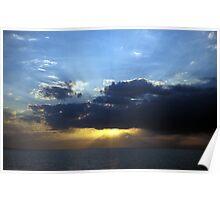 Sunset over Issyk-Kul lake Poster