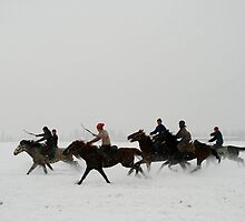 Horse race on snow by Michal Cerny
