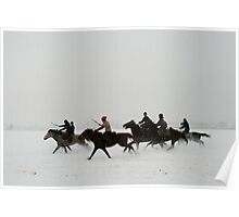 Horse race on snow Poster