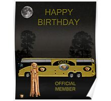 Golf  World Tour Scream Tour Bus Happy Birthday Poster